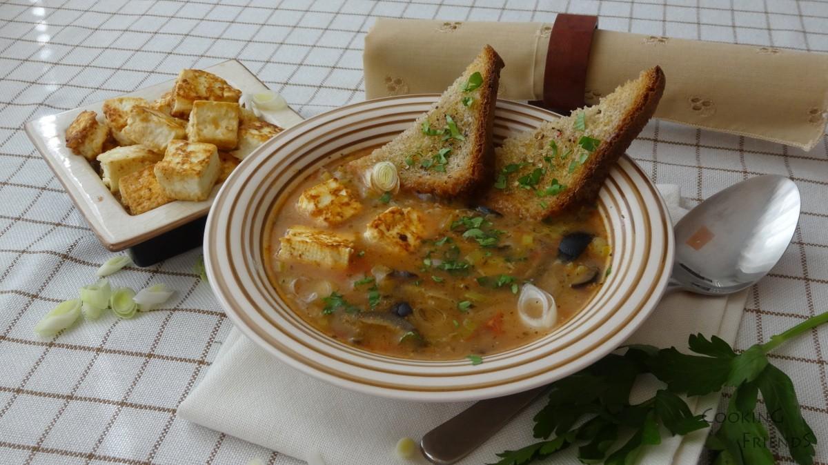 Супичка от праз и булгур с крутони от сирене