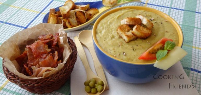 Освежаваща крем супа от грах с доматчета