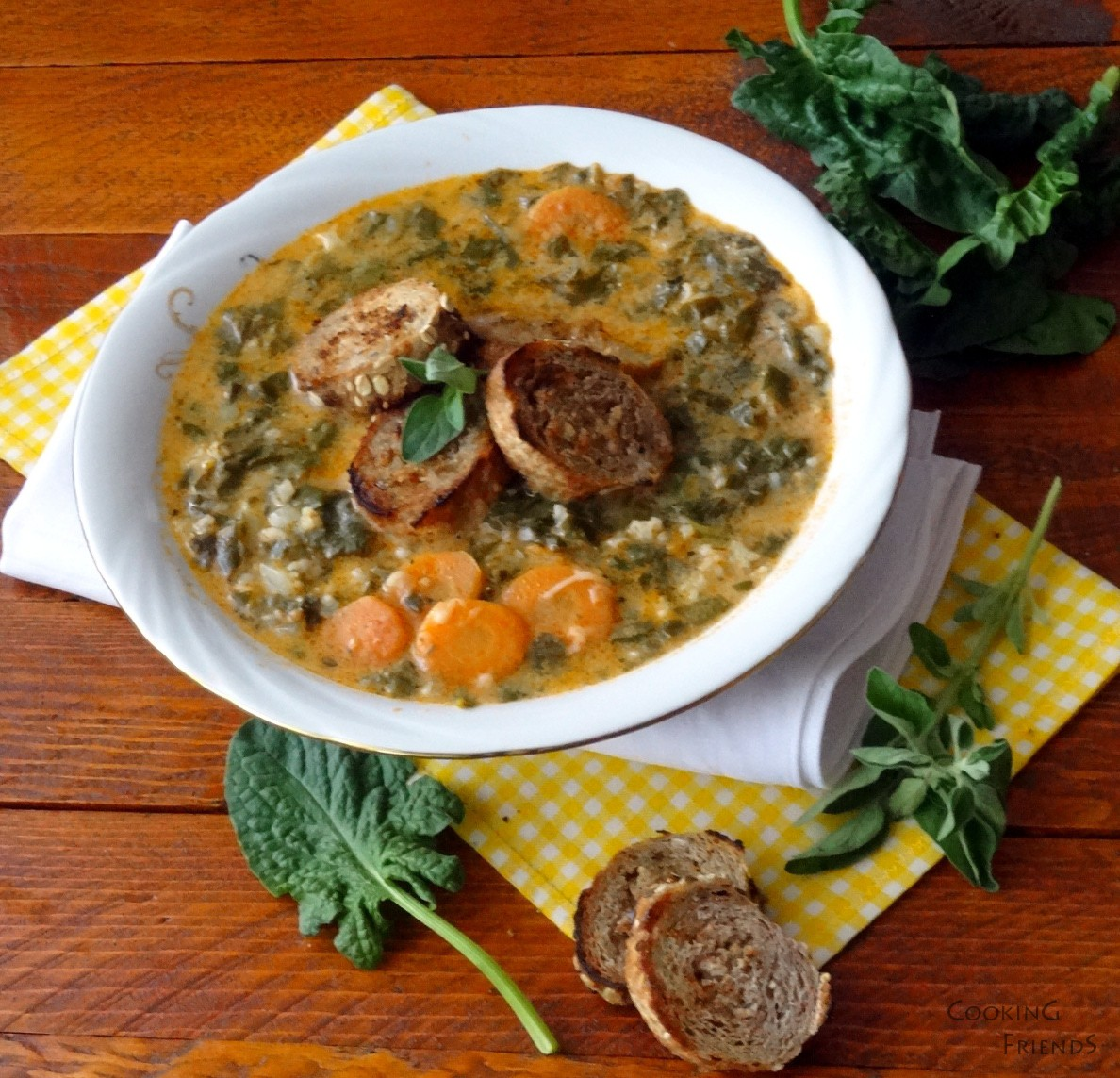 Спаначена супа с ориз,булгур и домати