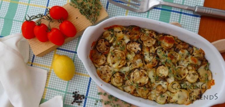 Тиквички с мащерка, лимонова кора и моцарела