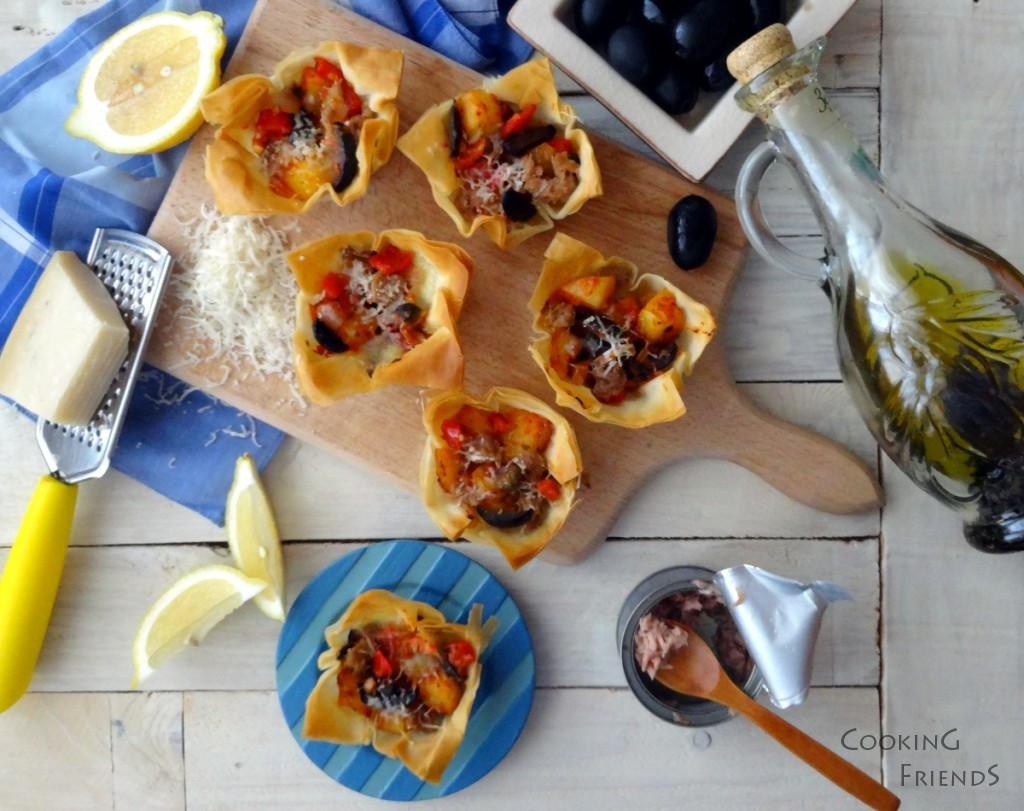 Хрупкави кошнички с риба тон