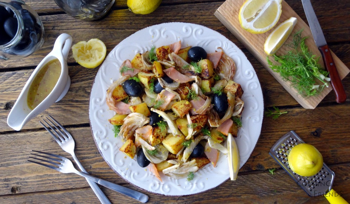 Топла салата с фенел, картофи и сьомга