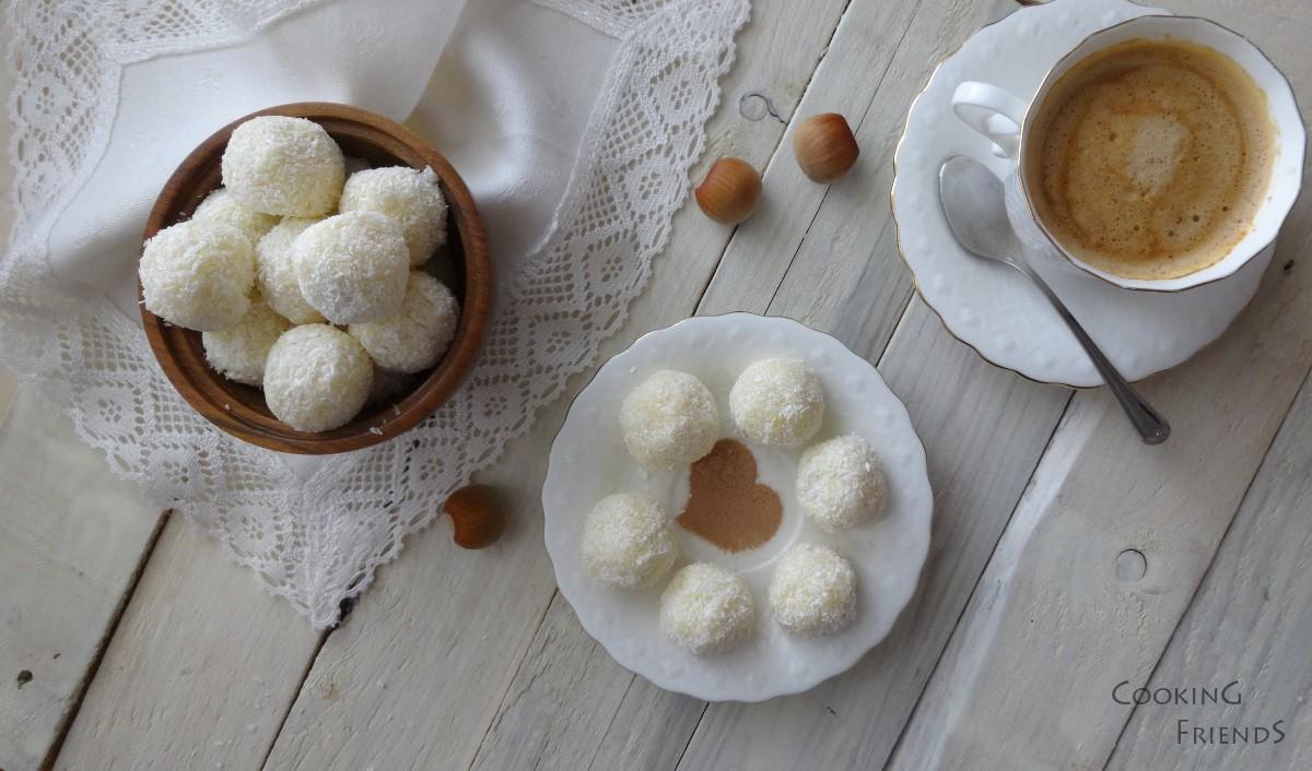 Шоколадови бонбони с кокос и цели лешници