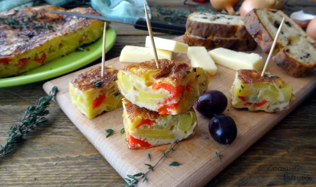 Испанска тортиля с картофи и чушки