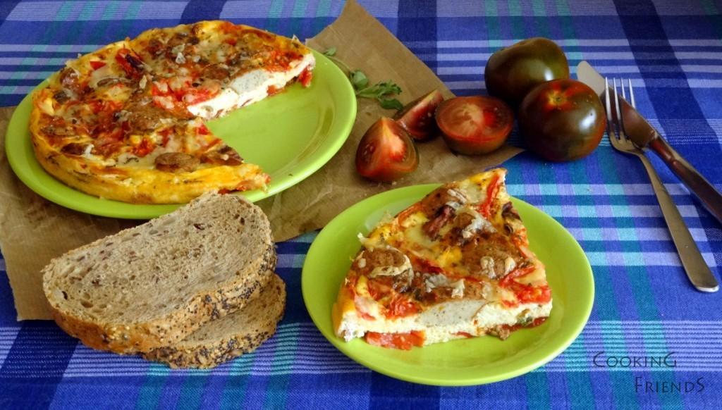 Италианска фритата с домати, риган и наденица