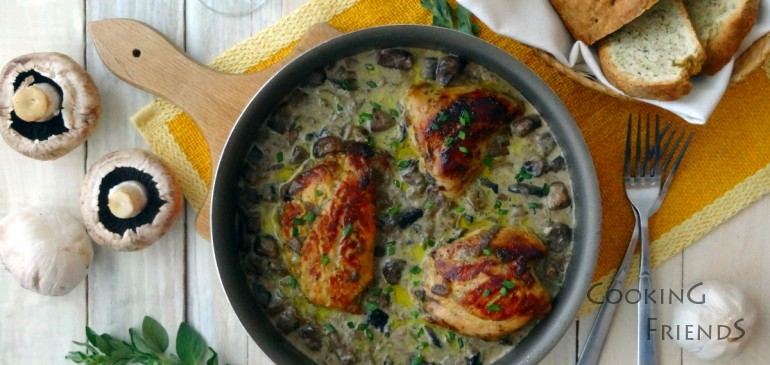 Мариновано пиле с гъби и сметанов сос