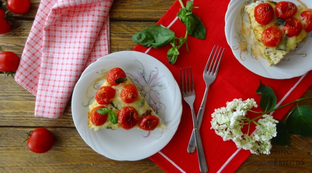Оризов пай с тиквички и домати