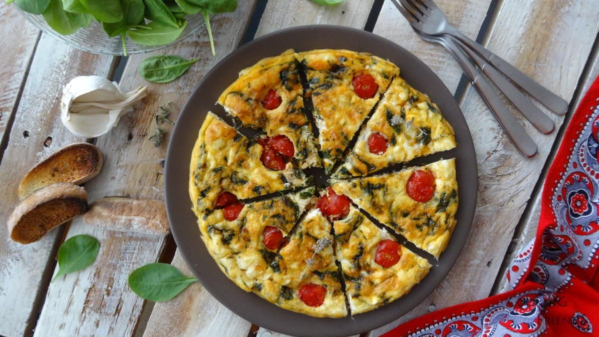 Фритата със спанак, чери домати и сирене Фета