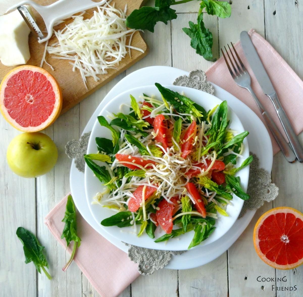 Салатка с грейпфрут, ябълка и целина