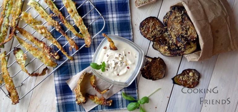 Зеленчуци с пармезанова коричка и млечен дип