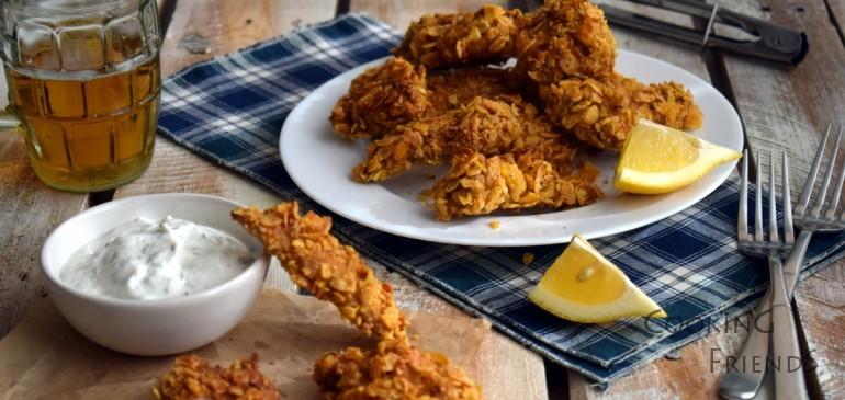 Хрупкави пилешки хапки с корнфлейкс